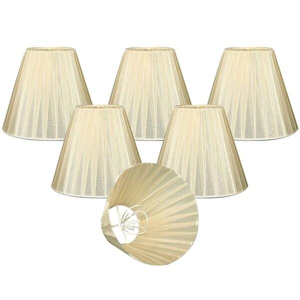 "Royal Designs Eggshell Organza Empire Chandelier Lamp Shade, 3"" x 6"" x 4.5"", Clip On-Set of 6"