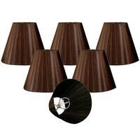"Royal Designs Brown Organza Empire Chandelier Lamp Shade, 3"" x 6"" x 4.5"", Clip On-Set of 6"