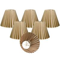 "Royal Designs Antique Gold Organza Empire Chandelier Lamp Shade, 3"" x 6"" x 4.5"", Clip On-Set of 6"