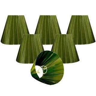 "Royal Designs Green Organza Empire Chandelier Lamp Shade, 3"" x 6"" x 4.5"", Clip On-Set of 6"