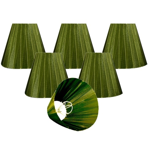 "Royal Designs Green Organza Empire Chandelier Lamp Shade, 3"" x 6"" x 4.5"", Clip On-Set of 6"