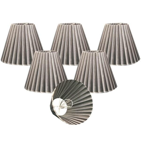 "Royal Designs Grey Organza Empire Chandelier Lamp Shade, 3"" x 6"" x 4.5"", Clip On-Set of 6"