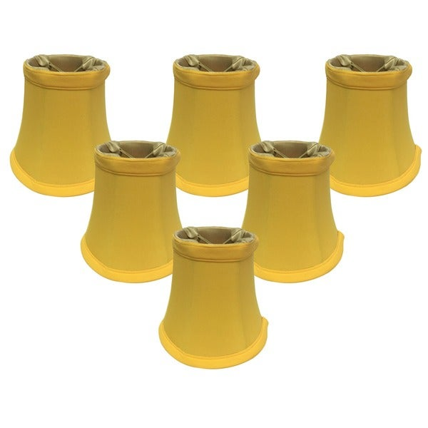 "Royal Designs Yellow Bell Chandelier Shade, 3"" x 5"" x 4.5"", Clip On- Set of 6"
