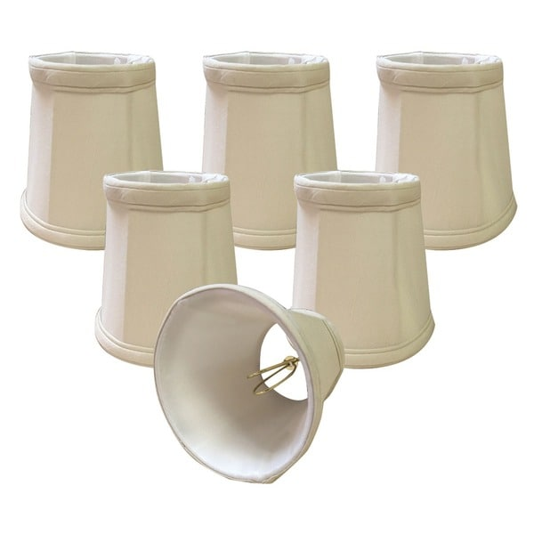 """Royal Designs Beige Empire Chandelier Lamp Shade, 3"""" x 4.25"""" x 4.25"""", Clip On-Set of 6"""