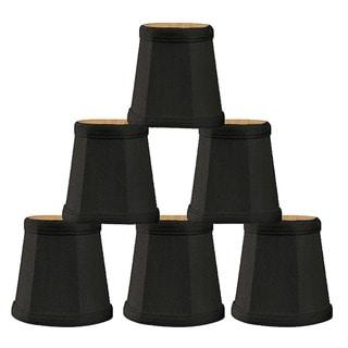 Royal Designs Empire Black Silk 4.25-inch Chandelier Lamp Shades (Set of 6)