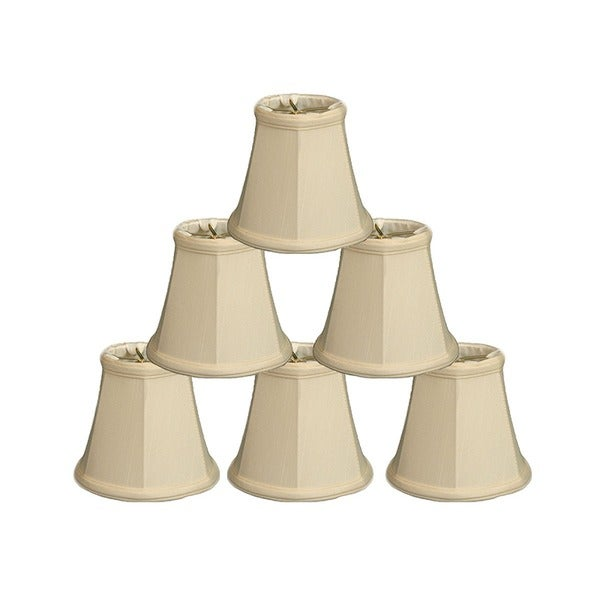 "Royal Designs Eggshell Empire Chandelier Lamp Shade, 2.5"" x 5"" x 4.25"". Clip On- Set of 6"