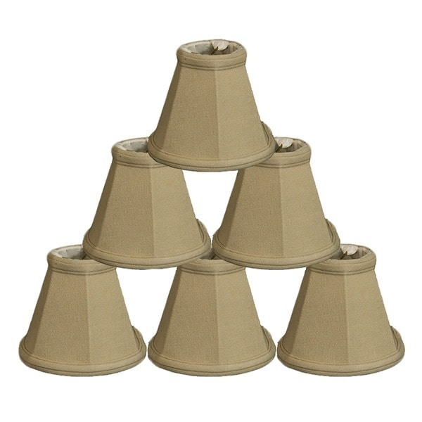 Royal Designs Linen Beige Empire Chandelier 2.5 x 5 x 4.25-inch Clip-on Lamp Shade (Pack of 6)