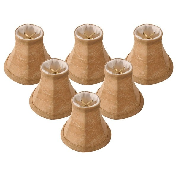 "Royal Designs Mouton Modified Bell Chandelier Lamp Shade, 2.5"" x 5"" x 4.25"", Clip On- Set of 6"