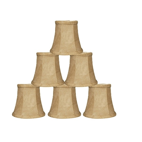 "Royal Designs Mouton Modified Bell Chandelier Lamp Shade, 3"" x 4.25"" x 4.25"", Clip On-Set of 6"