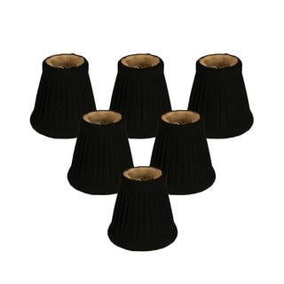 Royal Designs Black Fabric 3.5-inch Pleated Empire Chandelier Lampshades (Set of 6)