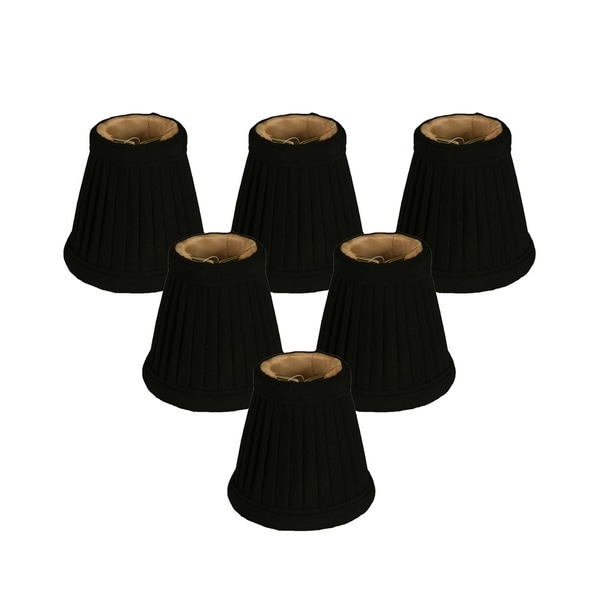 "Royal Designs Black Pleated Empire Chandelier Lamp Shade, 2"" x 3.5"" x 3.5"", Clip On- Set of 6"