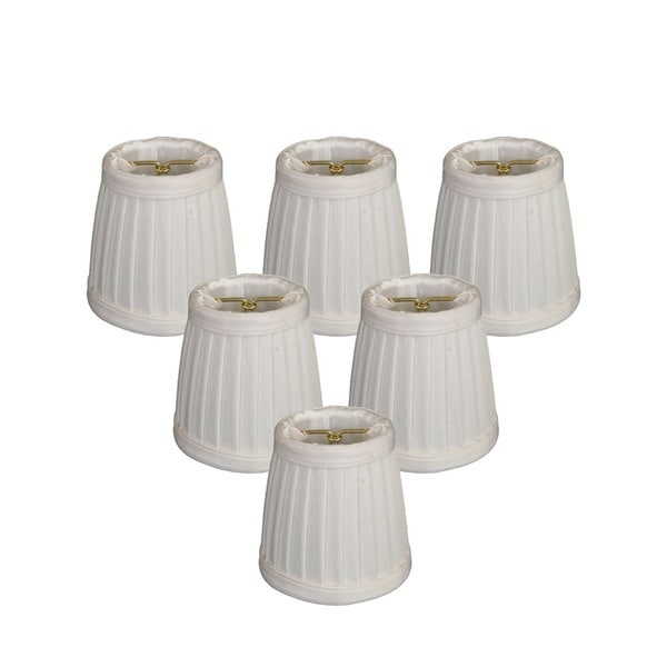Royal Designs White Pleated Empire 2 x 3.5 x 3.5-inch Clip-on Chandelier Lamp Shade (Set of 6)