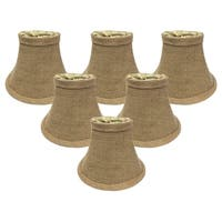 "Royal Designs True Bell Burlap Chandelier Lamp Shade, 3"" x 6"" x 4.5"", Clip On- Set of 6"