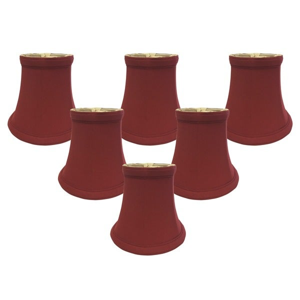"Royal Designs Burgundy True Bell Chandelier Lamp Shade, 3"" x 5"" x 4.5"", Clip On- Set of 6"