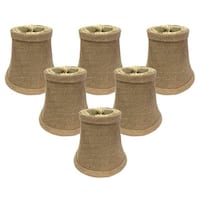"Royal Designs Burlap True Bell Chandelier Lamp Shade, 2.5"" x 5"" x 4.5"", Clip On- Set of 6"