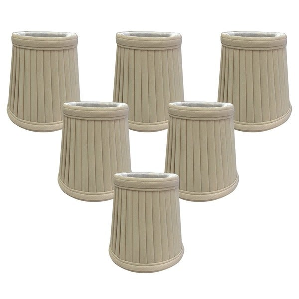 """Royal Designs Beige Pleated Empire Chandelier Lamp Shade, 2"""" x 4.25"""" x 4.25"""", Clip On- Set of 6"""