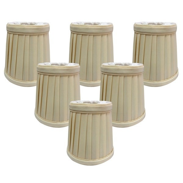 "Royal Designs Eggshell Pleated Empire Chandelier Lamp Shade, 2"" x 4.25"" x 4.25"", Clip On- Set of 6"