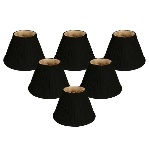 "Royal Designs Black Pleated Empire Chandelier Lamp Shade, 2"" x 5"" x 4.25"", Clip On- Set of 6"