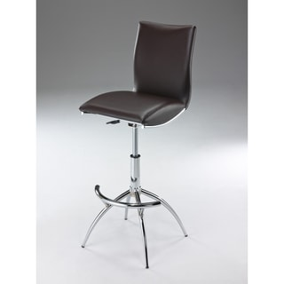 Minimalist Collection Height Adjustable Swivel Leatherette Bar Stool with Cushion and Gas Lift (Set of 2)