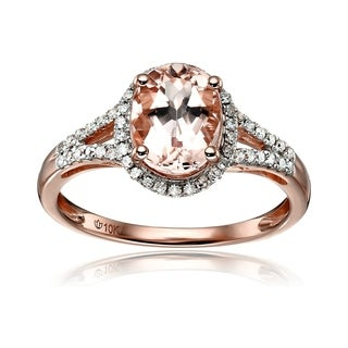 10k Rose Gold Morganite And Diamond Oval Halo Ring (1/5cttw H-I Color, I1-I2 Clarity)