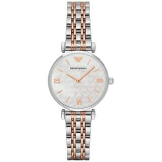 Emporio Armani Women's AR1987 Mother Of Pearl Dial Two-Tone Stainless Steel Bracelet Watch|https://ak1.ostkcdn.com/images/products/15053210/P21546350.jpg?impolicy=medium