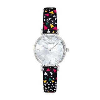 Emporio Armani Women's AR1995 Mother Of Pearl Dial Confetti-Print Leather Watch