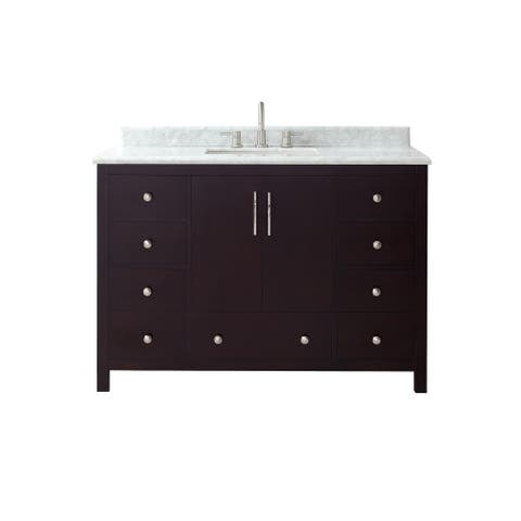 Azzuri Rockford 49 in. Vanity in Dark Espresso finish with Carrera White Marble Top