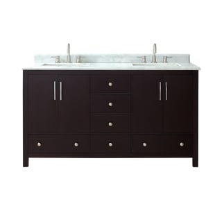 Azzuri Rockford 61 in. Double Sink Vanity in Dark Espresso finish with Carrera White Marble Top