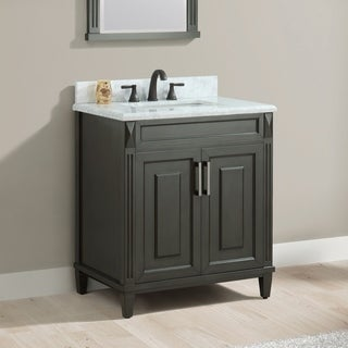 Azzuri Sterling 31 in. Vanity in Charcoal finish with Carrera White Marble Top