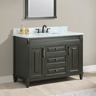 Azzuri Sterling 49 in. Vanity in Charcoal finish with Carrera White Marble Top