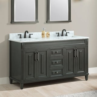 Azzuri Sterling Charcoal Finish Wood 61 Inch Double Sink Vanity With  Carrera White Marble Top