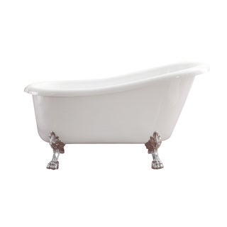 Azzuri by Avanity Elise 59-inch Free Standing Acrylic Soaking Tub with Rear Drain, Pop-up Drain, and Overflow
