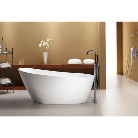 """Azzuri Marisol 67"""" Free Standing Acrylic Soaking Tub with Rear Drain, Pop-up Drain, and Overflow"""