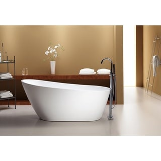 "Azzuri Marisol 67"" Free Standing Acrylic Soaking Tub with Rear Drain, Pop-up Drain, and Overflow"