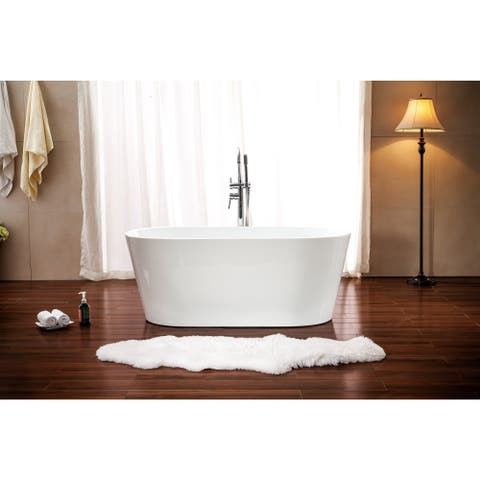 """Azzuri Lola 53"""" Free Standing Acrylic Soaking Tub with Center Drain, Pop-up Drain, and Overflow"""
