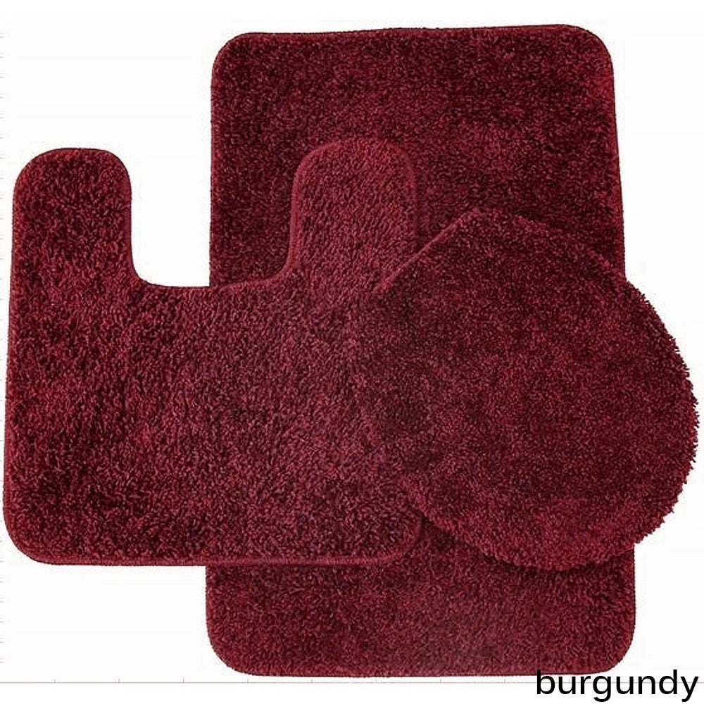 3 Piece Bathroom Rug and Toilet Seat Cover Set Lime Florence