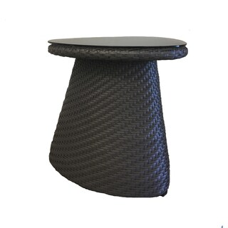 Circle Taupe Wicker Side Table