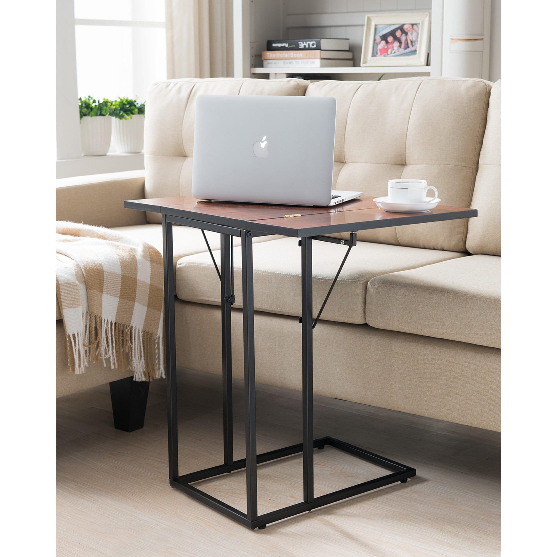 K and B Furniture Co Black/Walnut Foldable Sofa Table (ta...