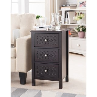Espresso Wood Drawers Side Table