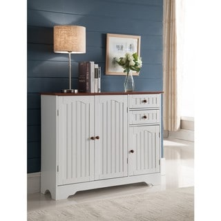 K and B Furniture Co White Wood Kitchen Storage Cabinet