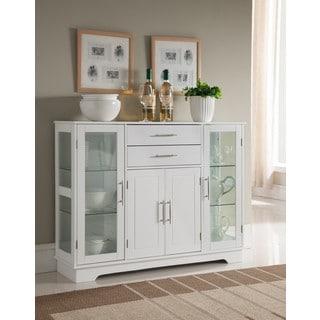 K and B Furniture Co. Inc. White Wood Kitchen Storage Cabinet