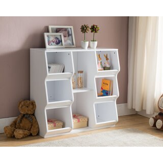K and B Furniture Co Inc White Wood 8-shelf Bookcase