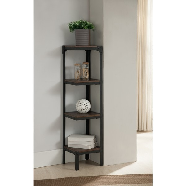 None Walnut Finish Shelves Metal Wall Corner 4 Tier Bookshelf Bookcase Unique Christmas Gifts