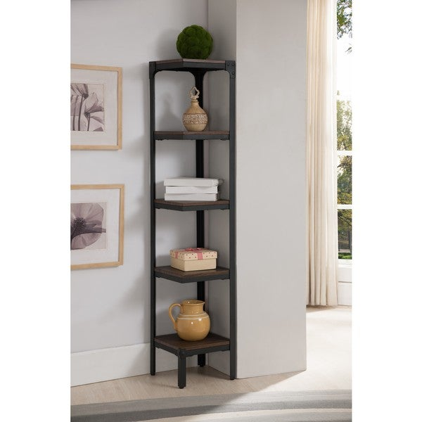 K And B Furniture Co Inc Antique Walnut Metal Wood 5 Tier Corner Bookcase