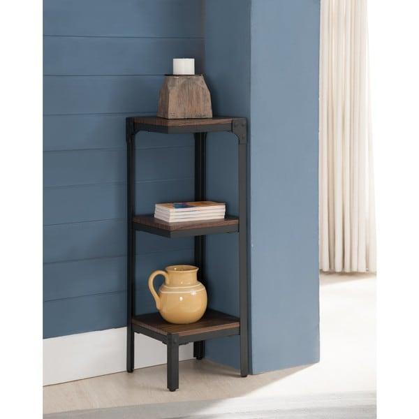 Metal Wood Antique Walnut 3 Tier Corner Bookcase