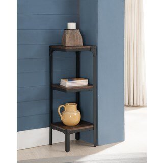Metal Wood Antique Walnut 3 Tier Corner Bookcase