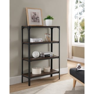 K and B Furniture Co Inc Metal and Wood Antique Walnut Finish 4-tier Bookcase