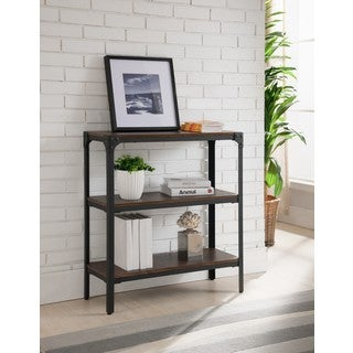 K and B Furniture Co Inc Walnut Metal/Wood 3-tier Bookcase