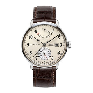 Graf Zeppelin LZ129 Hindenburg Brown Leather and Stainless Steel Automatic Watch With Power Reserve #7060-4