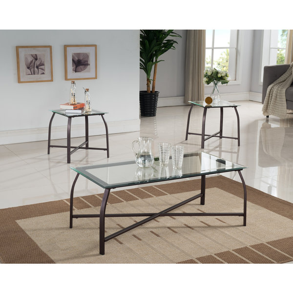 K and B Furniture Co Bronze Metal Glass 3-piece Occasional Table Set